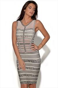 Geometric Mesh Cut Bandage Dress