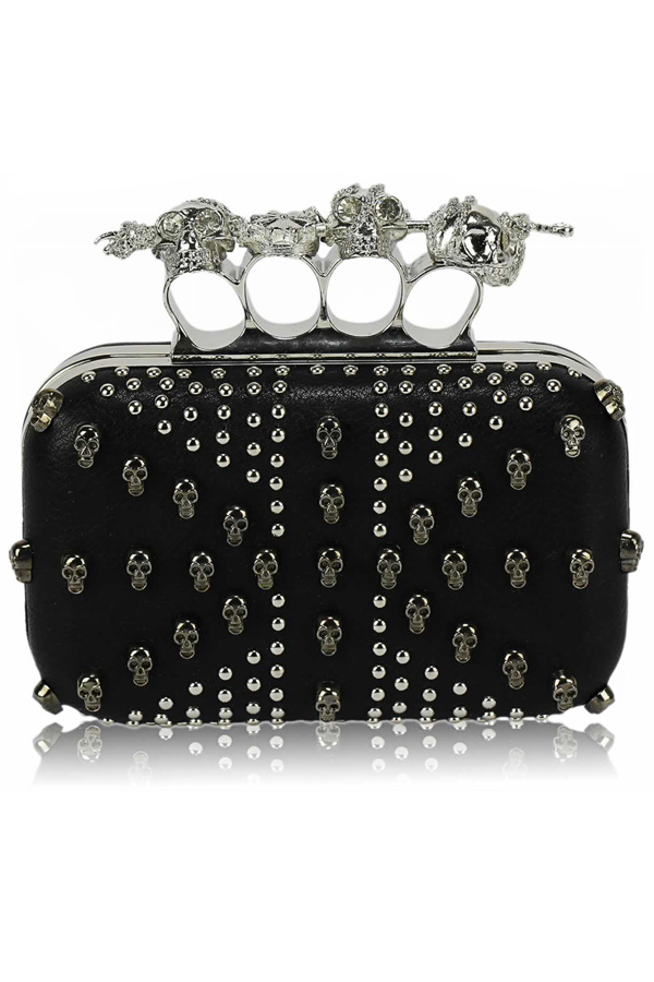Knuckle Studded Skull Clutch
