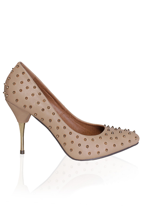 Nude Spike Stud High Heel