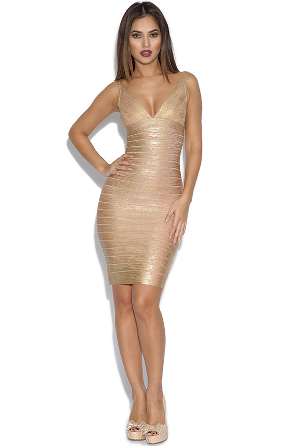 Deep V Neck Bandage Dress