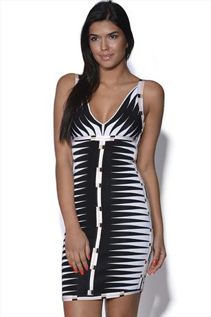 Contrast Striped Bandage Dress