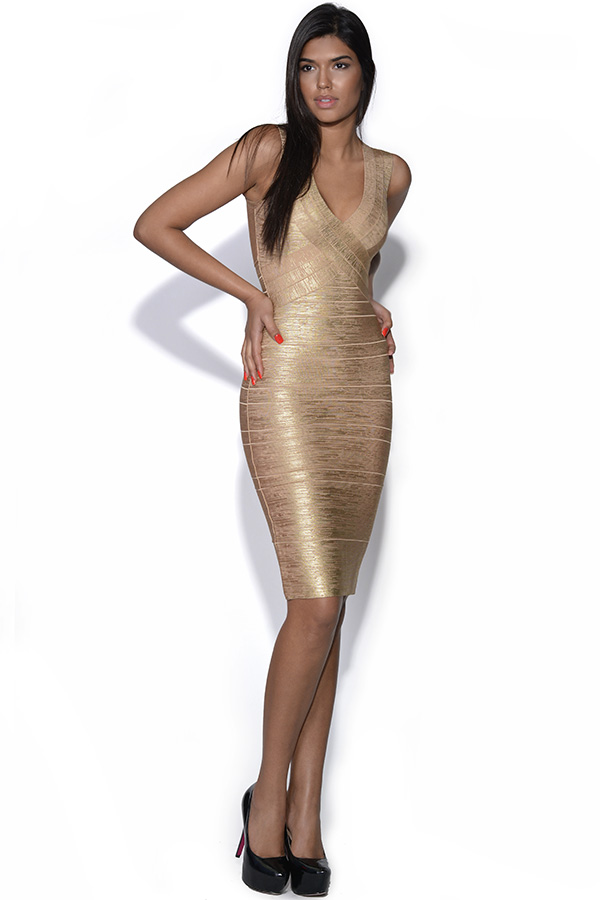 Gold Midi Length Bandage Dress