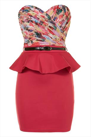 Little Mistress Bandeau Peplum Dress