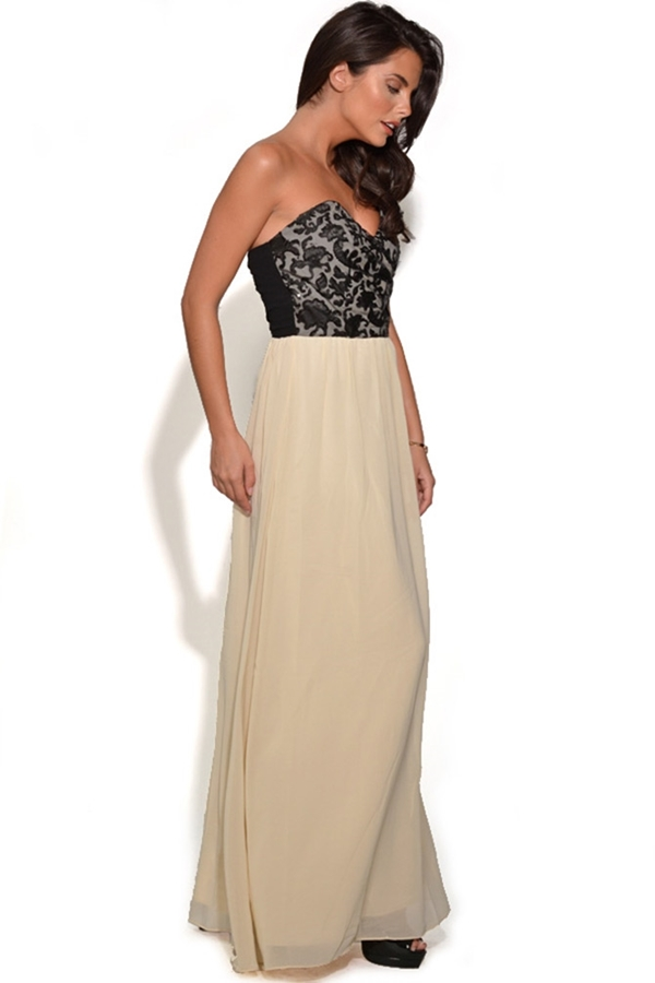 Black and Cream Flock Detail Bandeau Maxi Dress