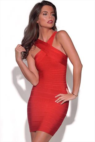 Cross Over Neck Bandage Dress