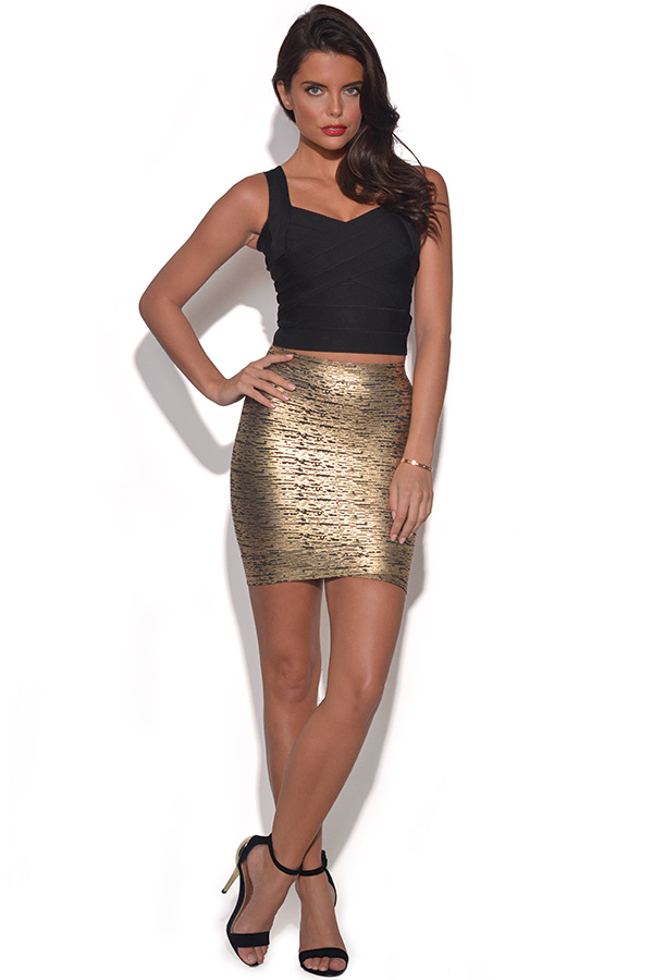 Metallic Gold Bandage Skirt