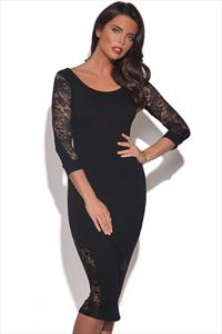 Quontum Black Lace Inset Midi Dress