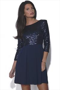 TFNC Sequin Pleated Dress