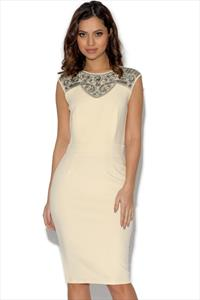 Little Mistress Floral Lace Panel Bodycon Dress