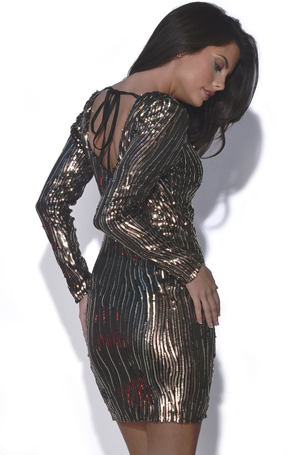 Little Mistress Gold Sequin Long Sleeve Dress