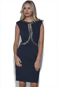 Little Mistress Navy Embellished Dress