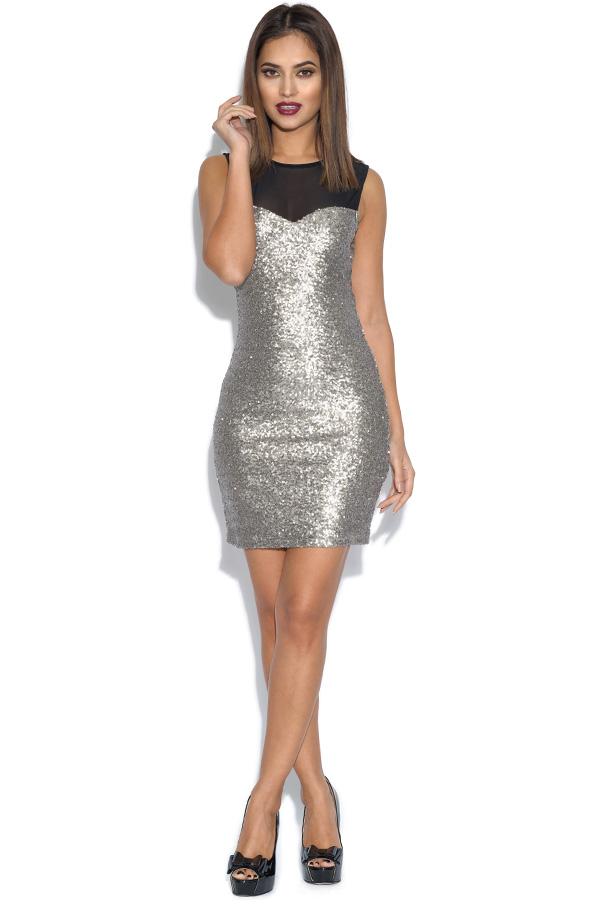 Mesh Top Sequin Bodycon Dress