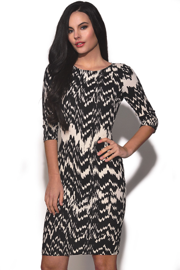 TFNC Monochrome Pattern Bodycon Dress