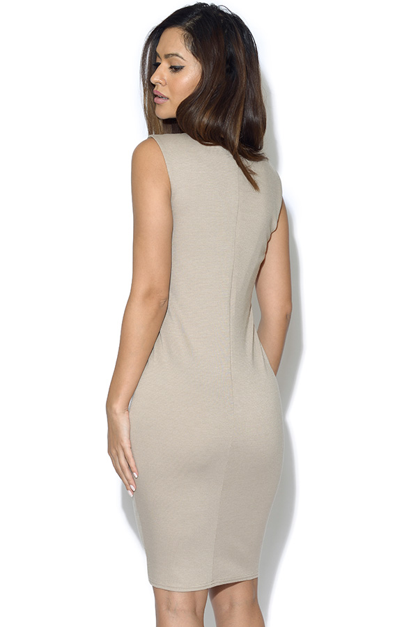 PU Fitted Sleeveless Dress
