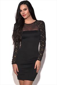 Brocade Sleeves Bodycon Mini Dress