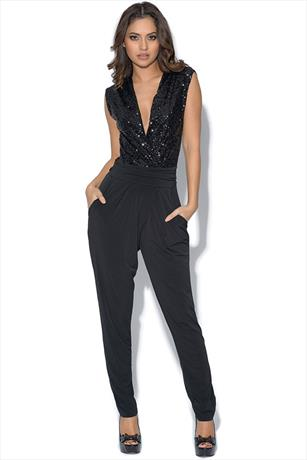 Cross Over Sequin Jump Suit