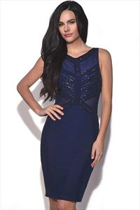 Embellished Navy Bodycon Dress