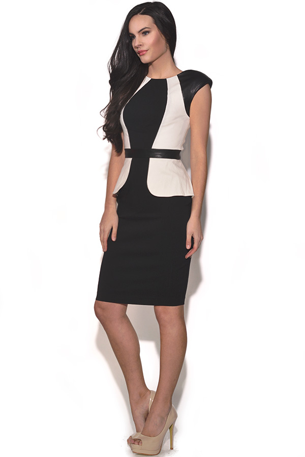 Paper Dolls PU Panel Peplum Dress