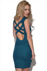 Quontum Teal Lattice Strap Dress