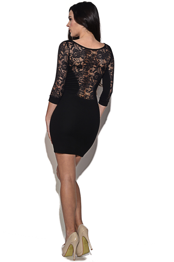 Quontum Black Lace 3/4 Sleeve Dress