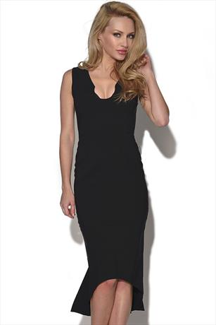 Quontum Black Pencil Dress with Fishtail