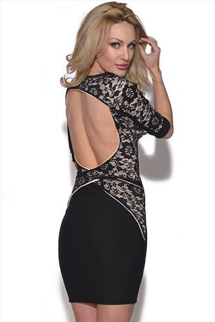 Quontum Open Back Lace Strap Dress