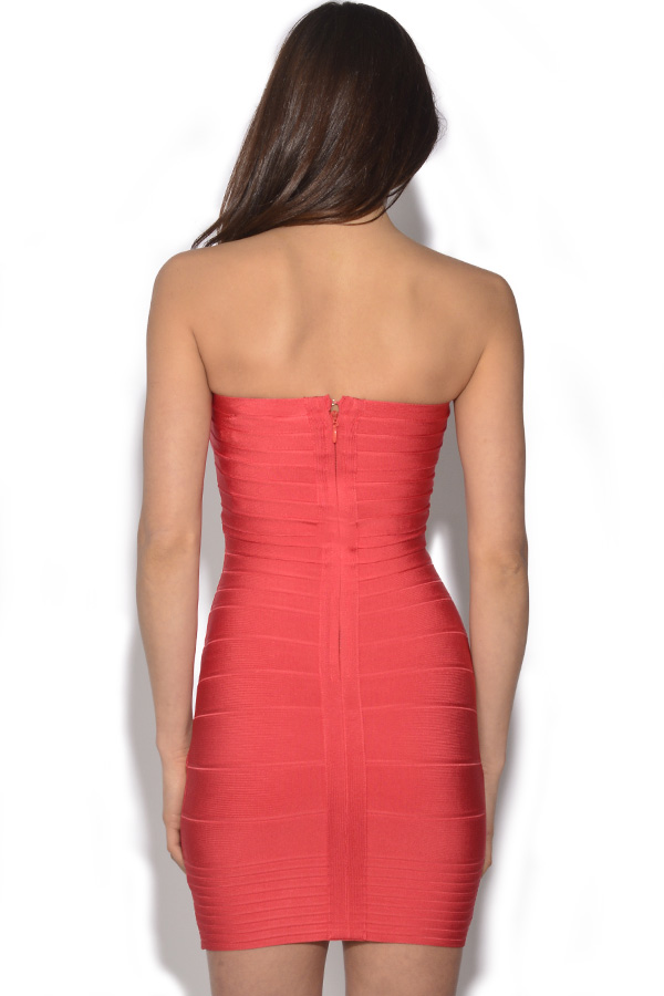 Coral Bandeau Bandage Dress