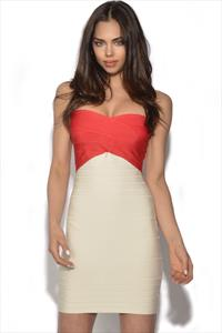 Colour Block Bandeau Bandage Dress