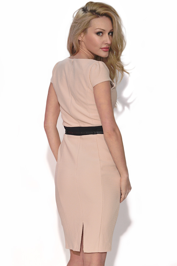 Flattering Cream Cap Sleeve Dress