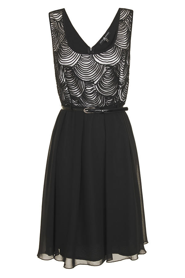 Little Mistress Spiral Print Fit and Flare Dress