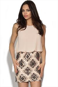 TFNC Aztec Sequin Skirt Dress