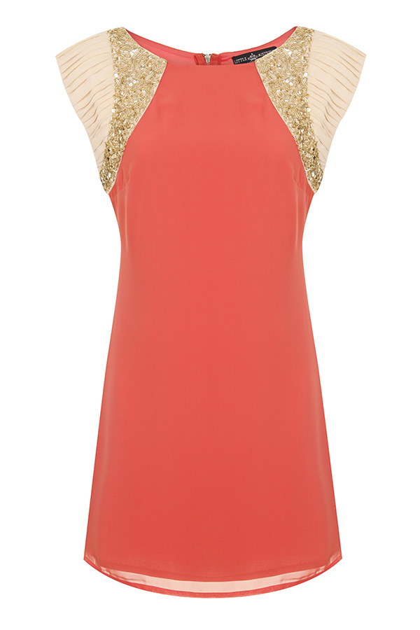 Little Mistress Embellished Shoulder Shift Dress