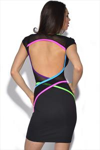 Quontum Neon Backless Wrap Strap Dress