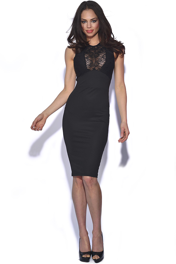 Black Lace Cut Out Bodycon Dress