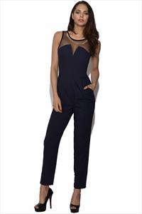 Little Mistress Embellished Navy Jumpsuit