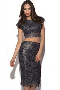 Honor Gold 2 Piece Crop Top and Skirt Set