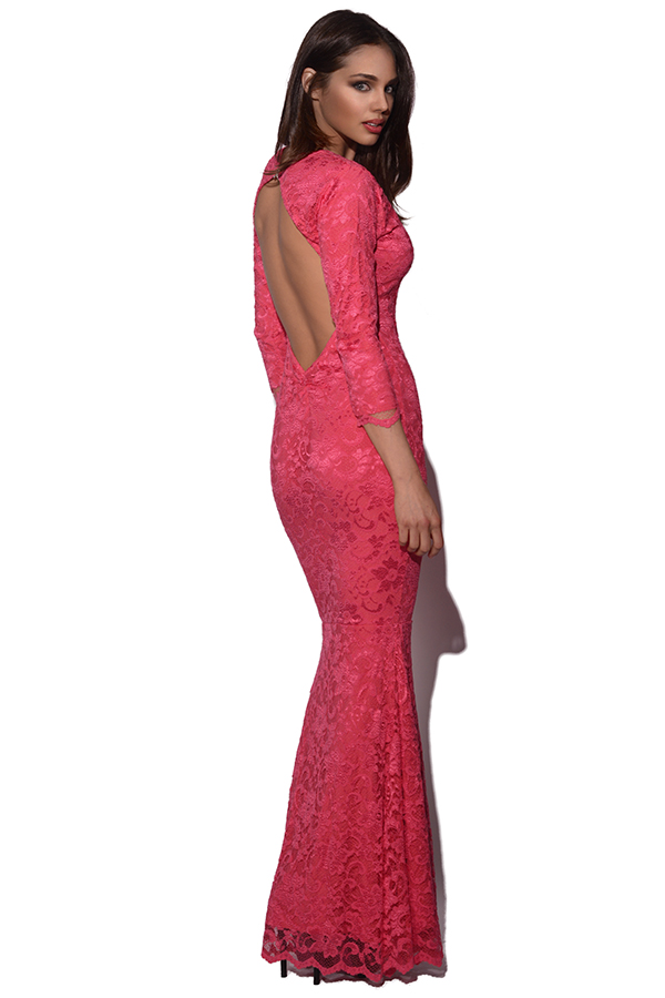 Honor Gold Coral Lace Maxi Dress