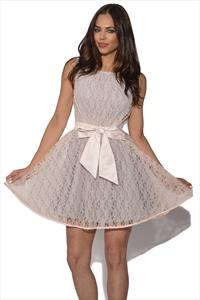 Little Mistress Lace Overlay Bow Prom Dress