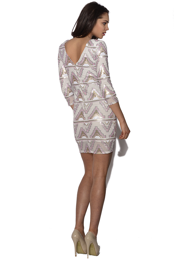 Aztec Sequin Embellished Bodycon Dress