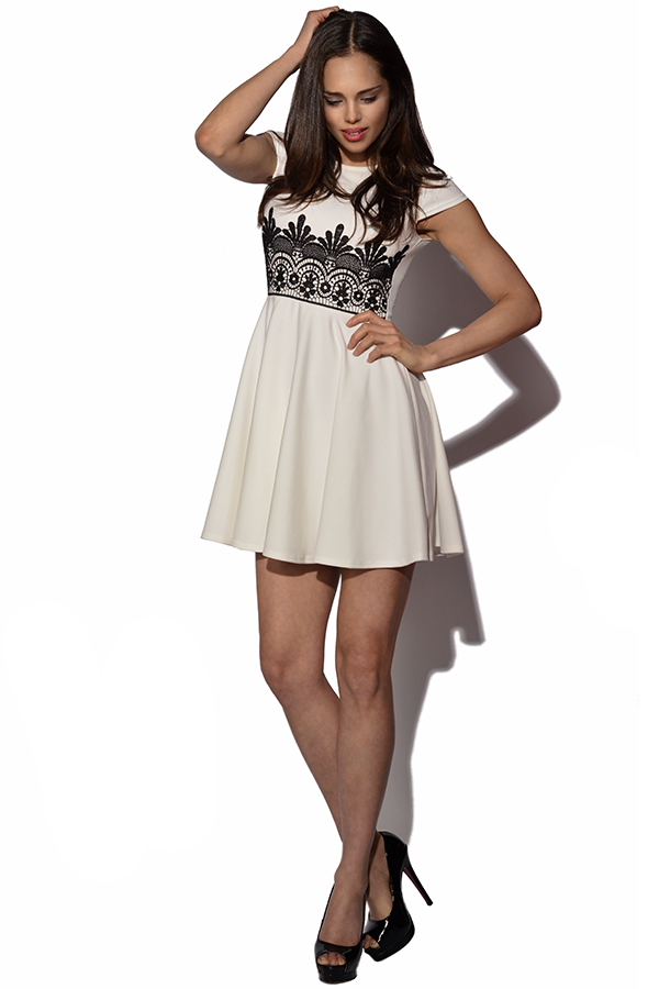 Lace Embellished Skater Dress