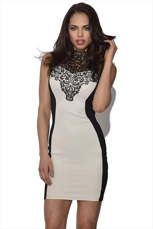 Crochet Trim Bodycon Dress