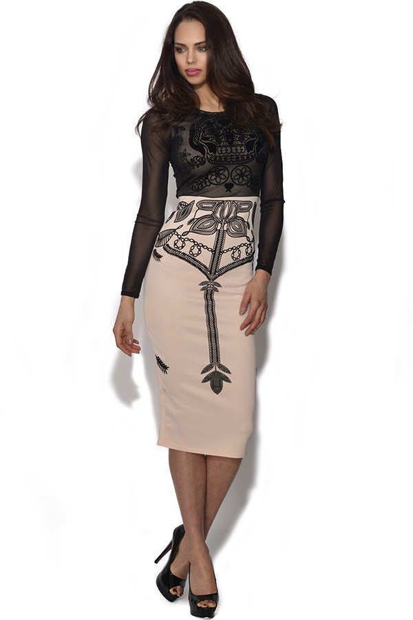 Graphic Print Midi Dress