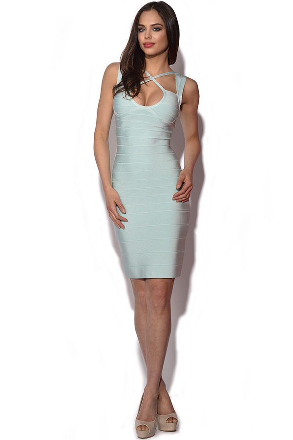Pale Blue Strappy Bandage Dress