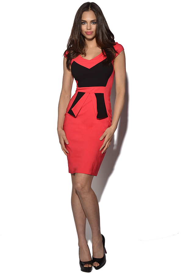 Vesper Brandy Colour Block Peplum Dress