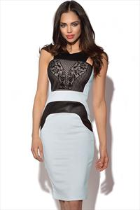 Leatherette Flock Midi Dress