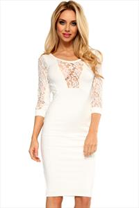 Quontum Cream Lace Panel Dress