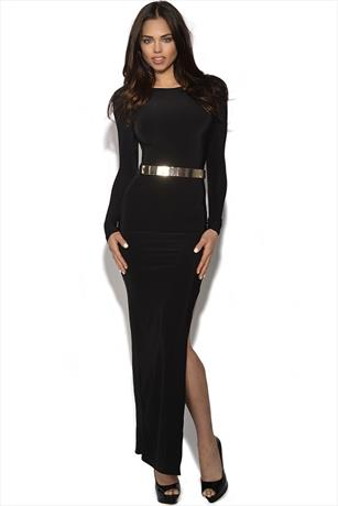 Long Sleeved Belted Maxi Dress
