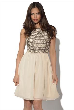 Little Mistress Luxe Embellished Bodice Dress