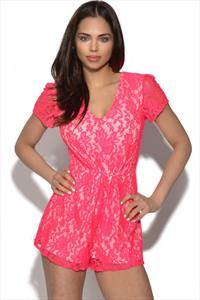 Neon Pink Lace Plunge V Neck Playsuit