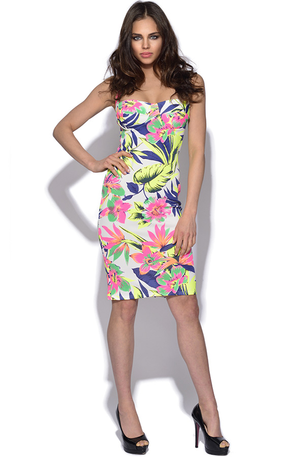 Floral Strappy Back Bodycon Dress